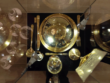 Display of the set up of the state dinner of François Mitterrand.