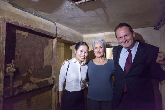 Joan Baez - with director of PR; Le Nhung, and general manager Kai Speth - at the Metropole air raid shelter, where she had spent so many fearful moments.
