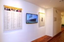 View of the Exhibtion with TV screen and history documentary